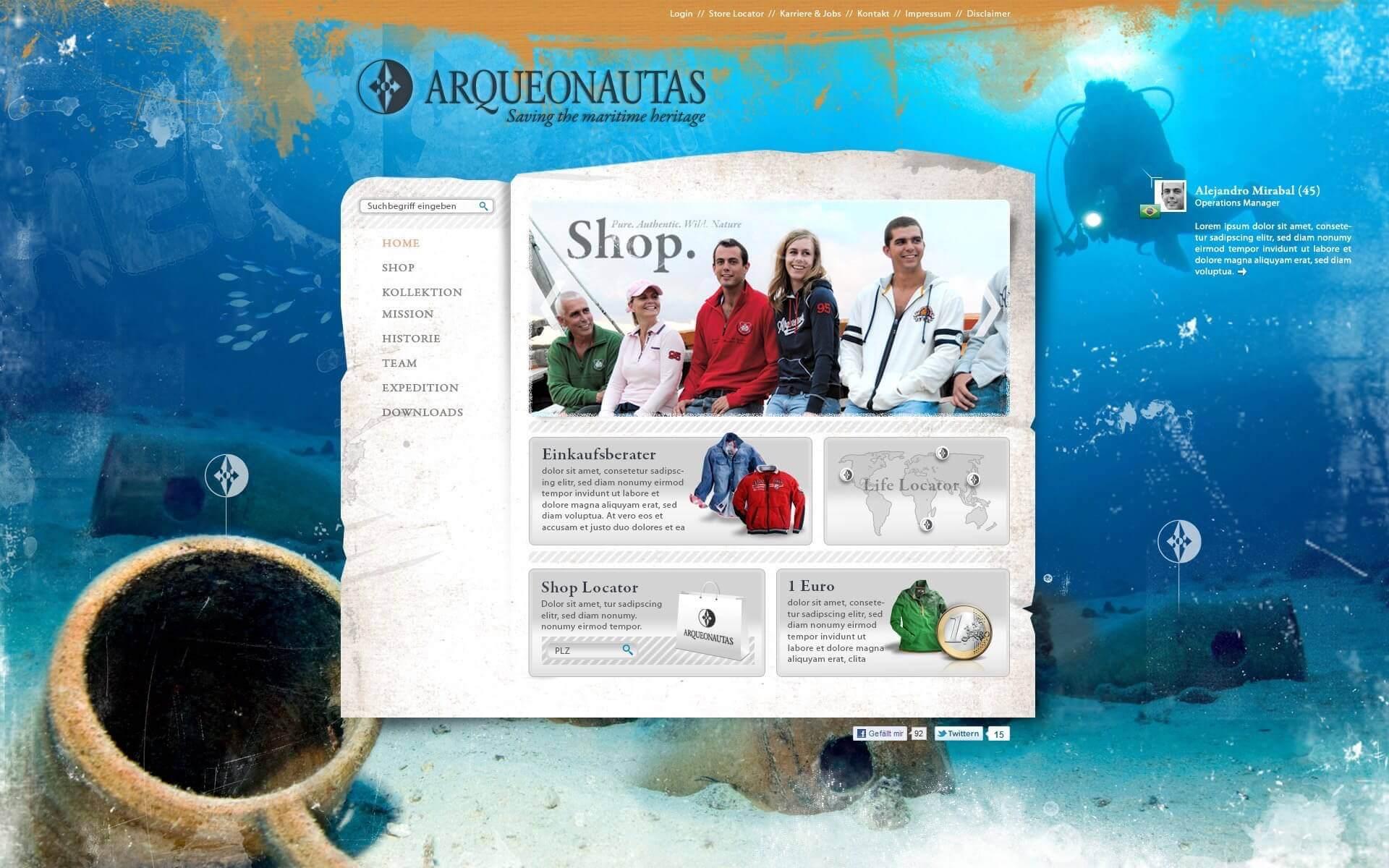 Website Konzept für Arqueonautas
