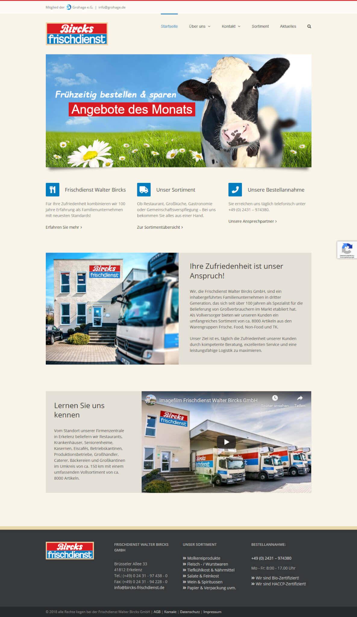 Website Bircks Frischdienst
