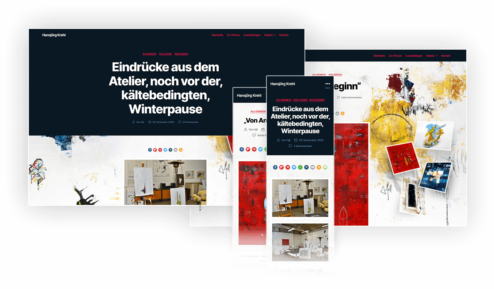 Redesign Website des Künstlers Hansjörg Krehl