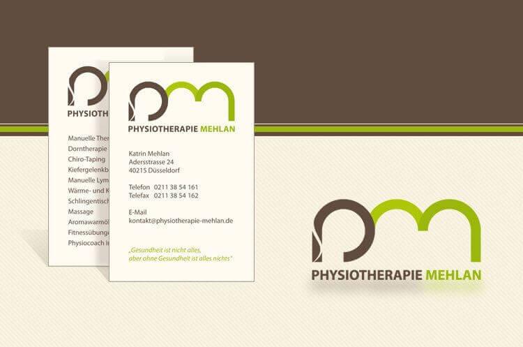 Logo und Visitenkarten für Physiotherapie Mehlan