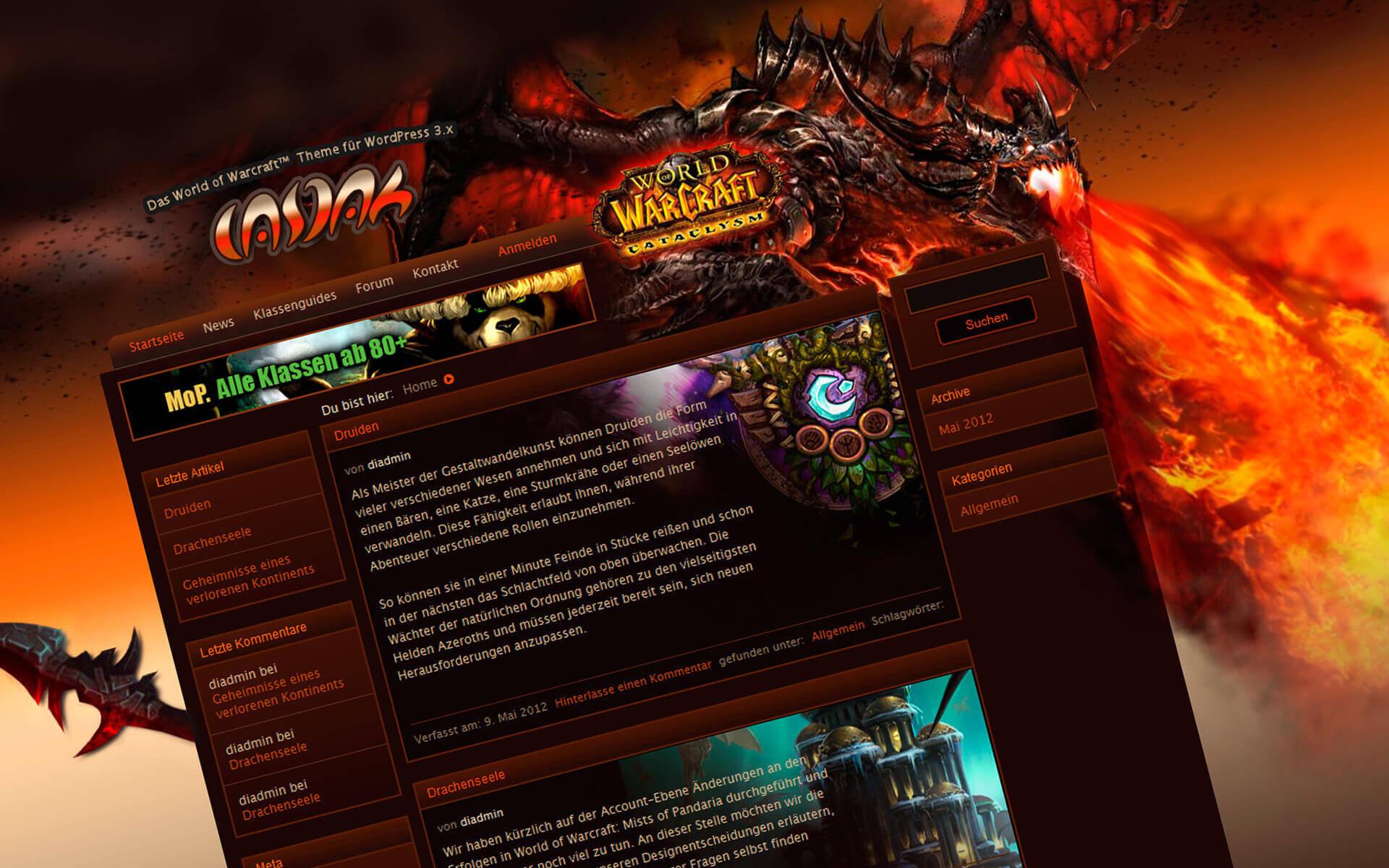 WordPress Theme - Casdah für World of Warcraft