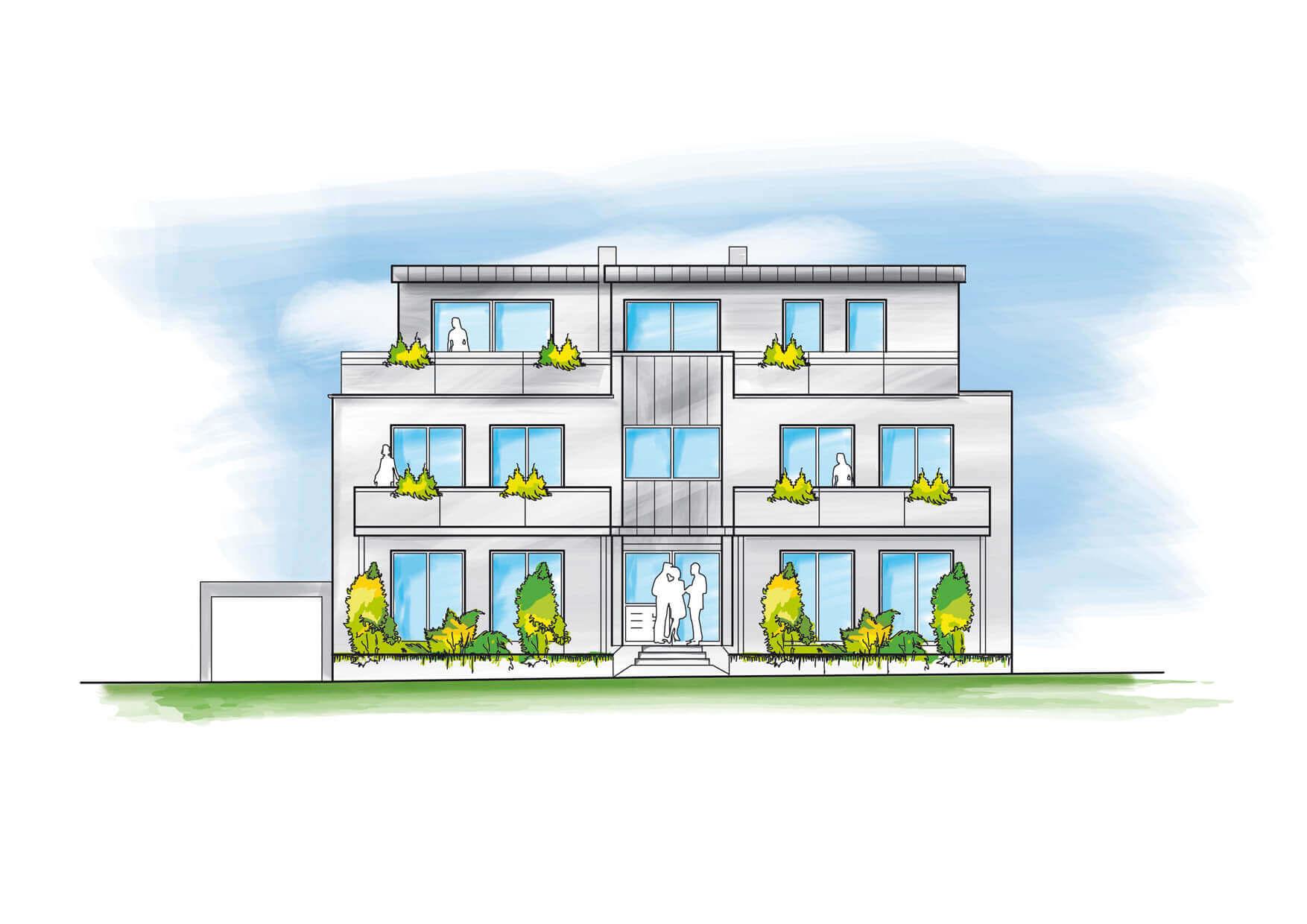 Illustrationen: Colorierung einer Bauzeichnung