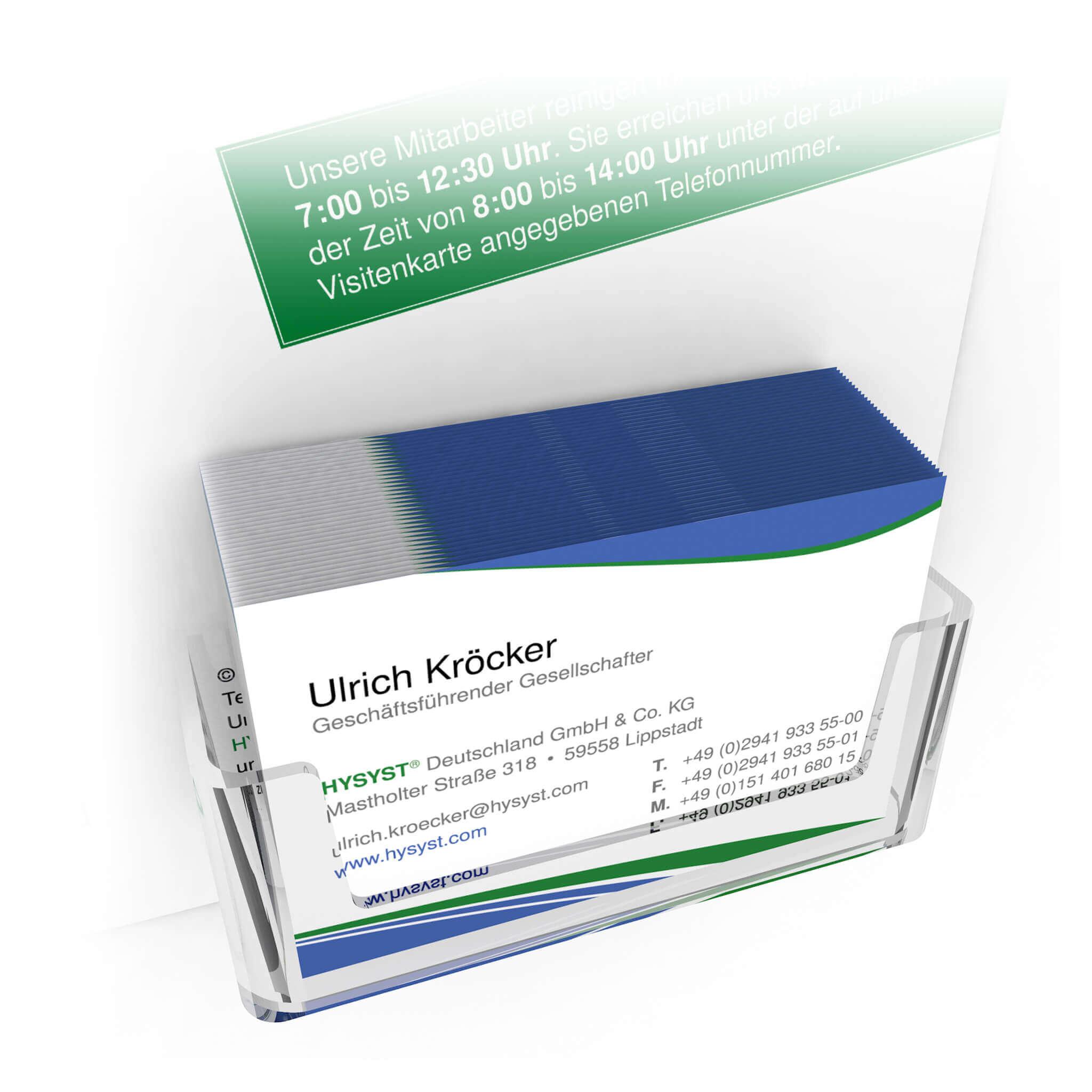 3D Visualisierung HYSYST Visitenkartenhalter für Information Board
